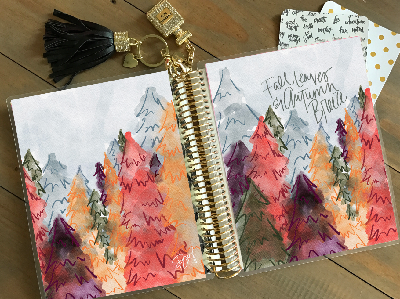 Stylish Planner and Stylish Gifts - Fall Leaves Planner Cover (Hand-painted by Britt)