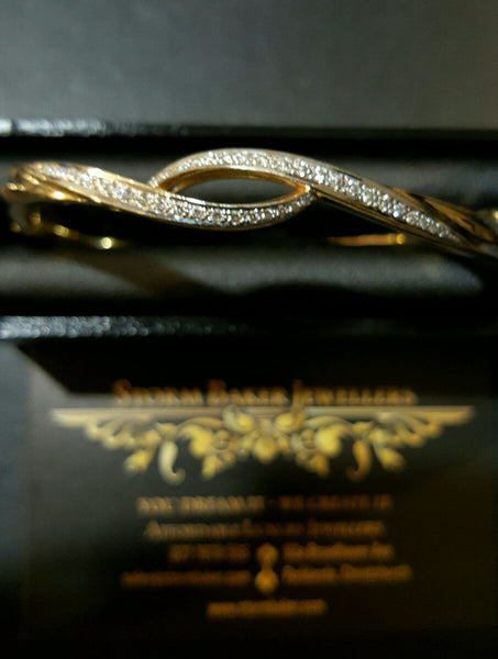 Natural Diamond Solid Gold Bracelet
