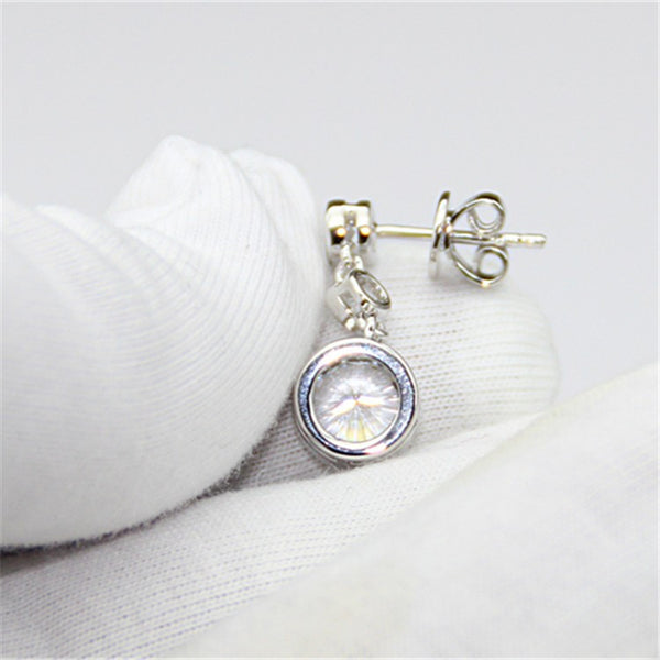 Elegant Bezel Drop Earrings