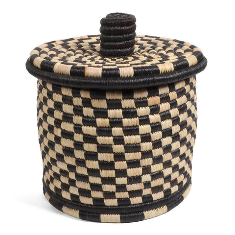 African Fair Trade Handwoven Lidded Box, Medium, Black/Cream Check