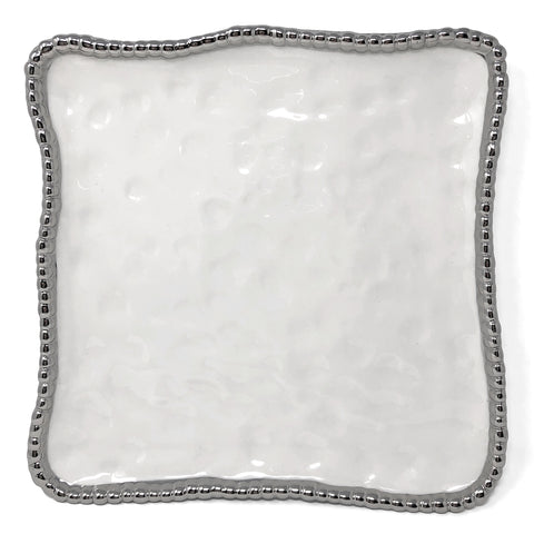 Pampa Bay CER-1400-W Salerno Titanium-Plated Porcelain 11-inch Square Platter, White/Silver