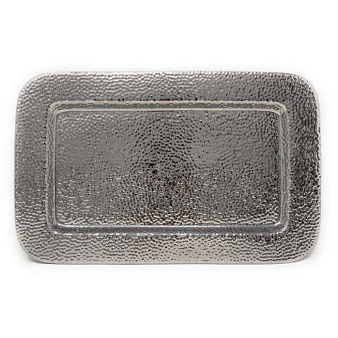 Pampa Bay Hammered Titanium-Plated Porcelain 14 x 9-inch Tray, Silver
