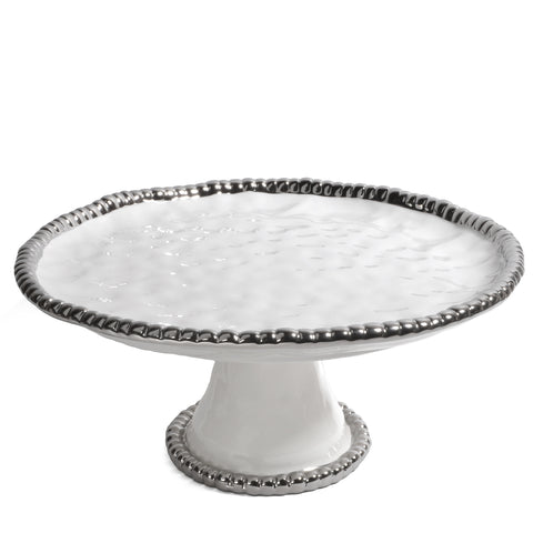 Pampa Bay Salerno Titanium-Plated Porcelain 11-inch Round Cake Stand, White/Silver