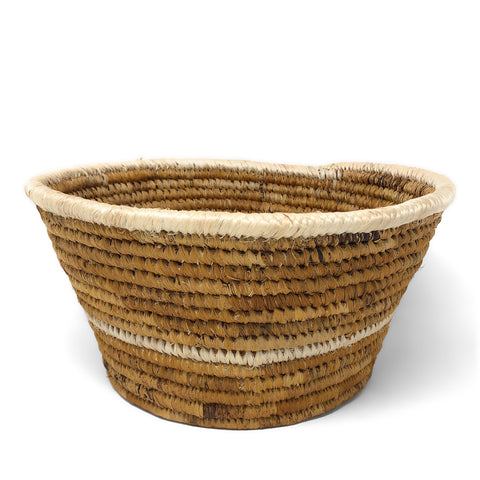 African Fair Trade Handwoven Banana Fiber Basket, Small