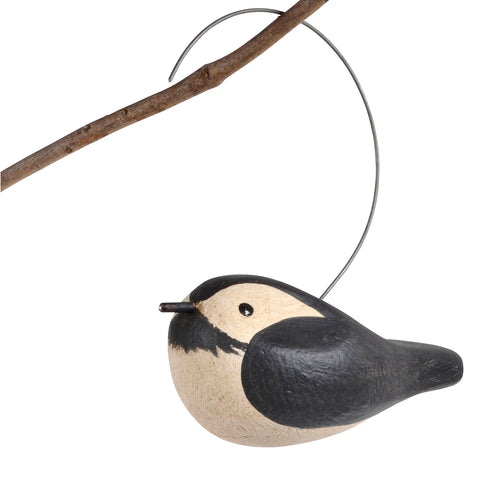 The Painted Bird by Richard Morgan Carved Black Caped Chickadee Hanging Decoy
