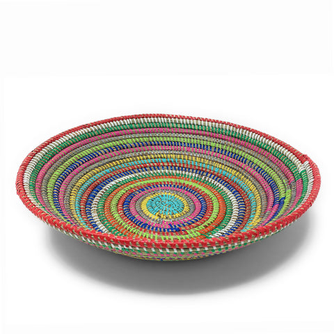 African Fair Trade Large Round Grain Basket, Rainbow Stripe