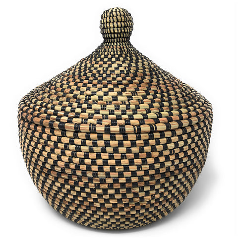 African Fair Trade Handwoven Warming Basket, Checkered Black