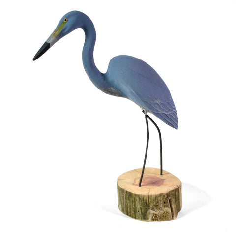 The Painted Bird by Richard Morgan Carved Blue Heron Figurine, Standing