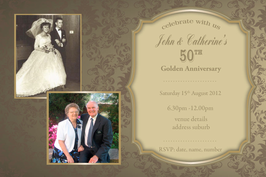 50th wedding anniversary with photo invitations, Gold 50th wedding anniversary invitation,