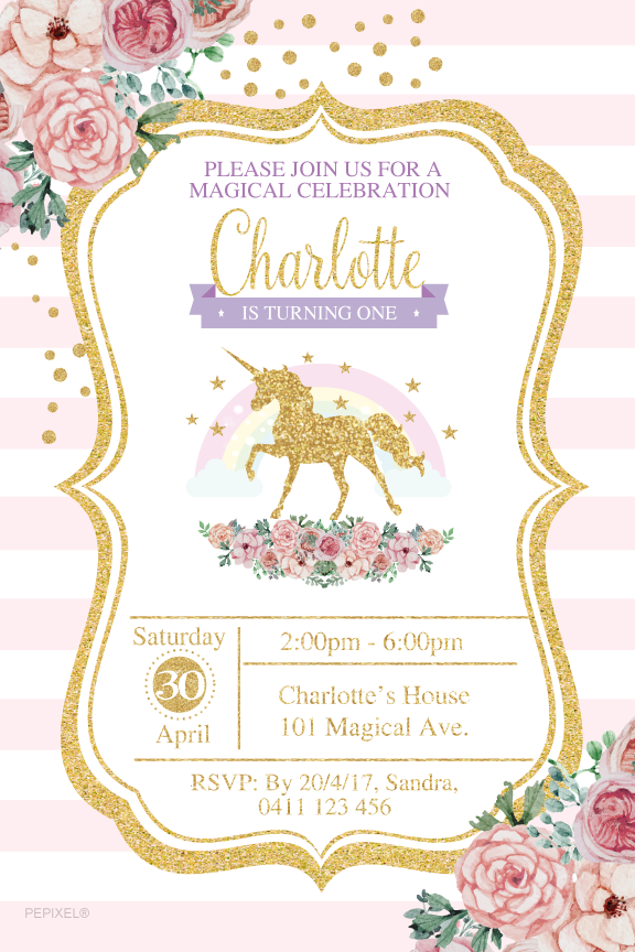 Pink and white stripes with floral gold unicorn birthday invitations,