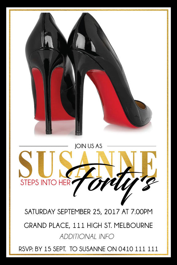 white with Black heels birthday invitations, black high heels birthday invitations,