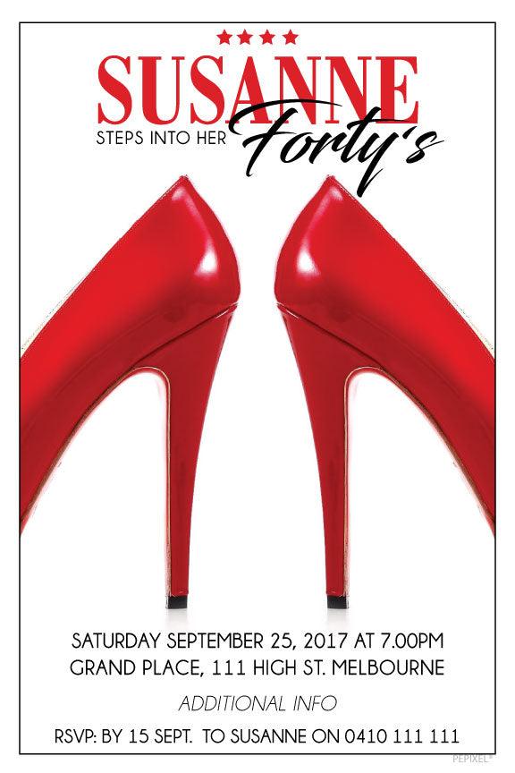 White with red heels birthday invitations, Red high heel birthday invitations,