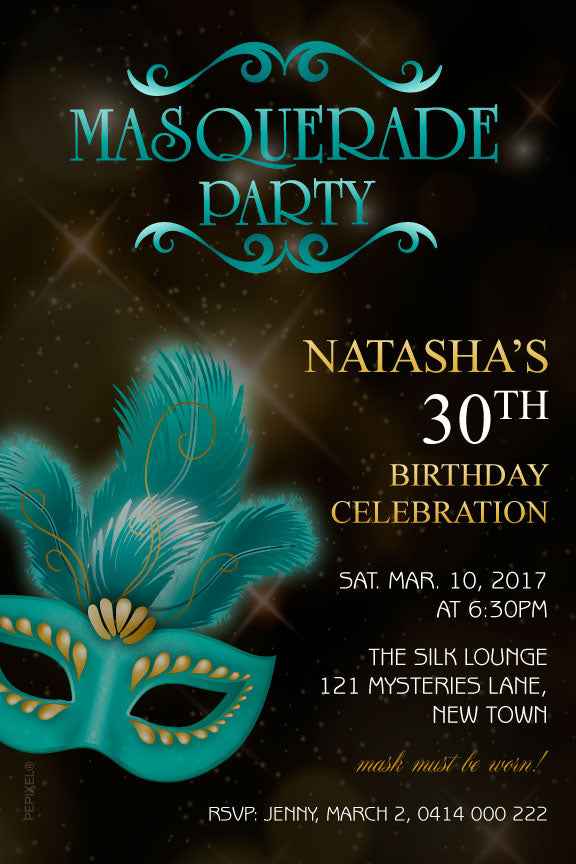 Masquerade birthday invitations, black and teal masquerade invitations, quinceanera invitations, quinceanera masquerade invitations,