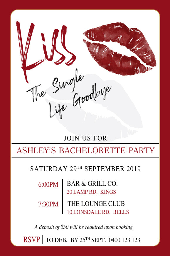 bachelorette party invitation with lips kiss print