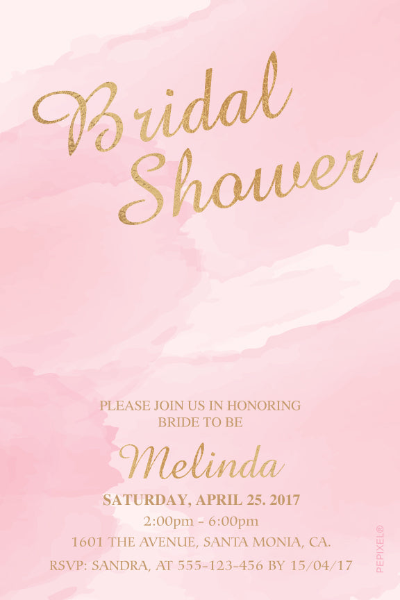 Pink watercolor with gold bridal shower invitation