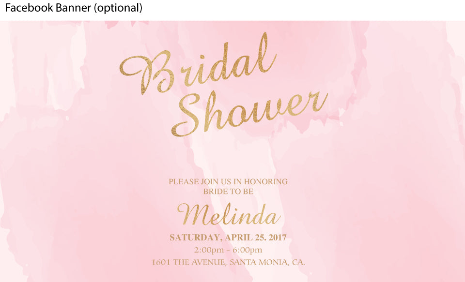 Pink watercolor with gold bridal shower facebook event page