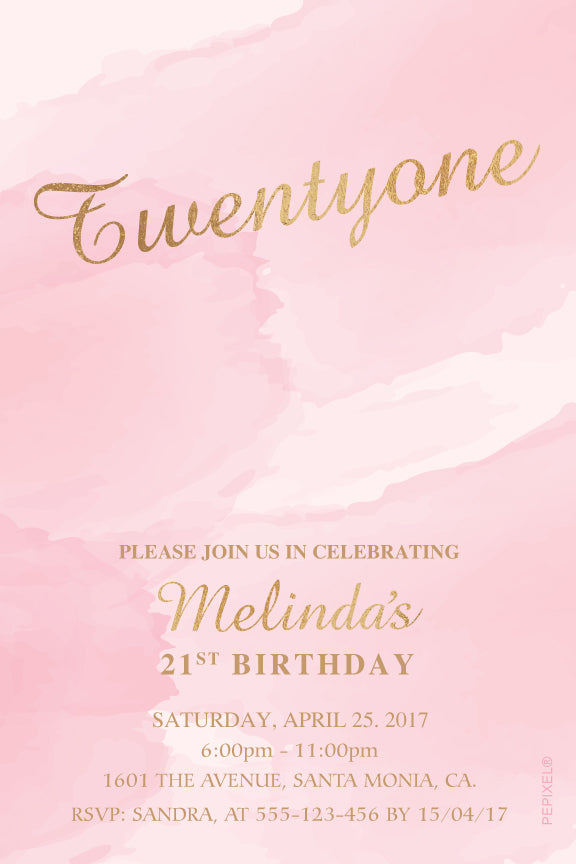 Pink watercolor with gold birthday invitation