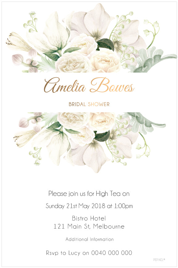 White floral with gold bridal shower invitation