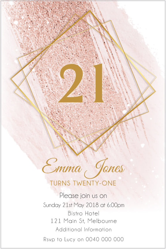Gold geo with pink watercolor birthday invitation