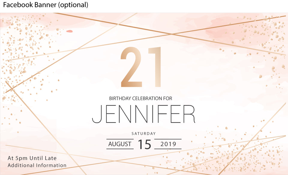 Gold geo with pink watercolor birthday facebook event banner