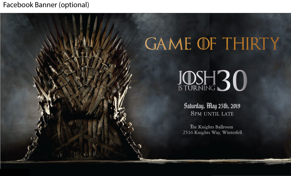 Game of thrones birthday party facebook event banner