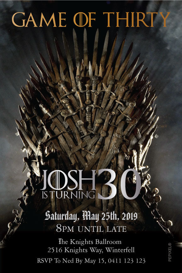Game of thrones birthday party invitation