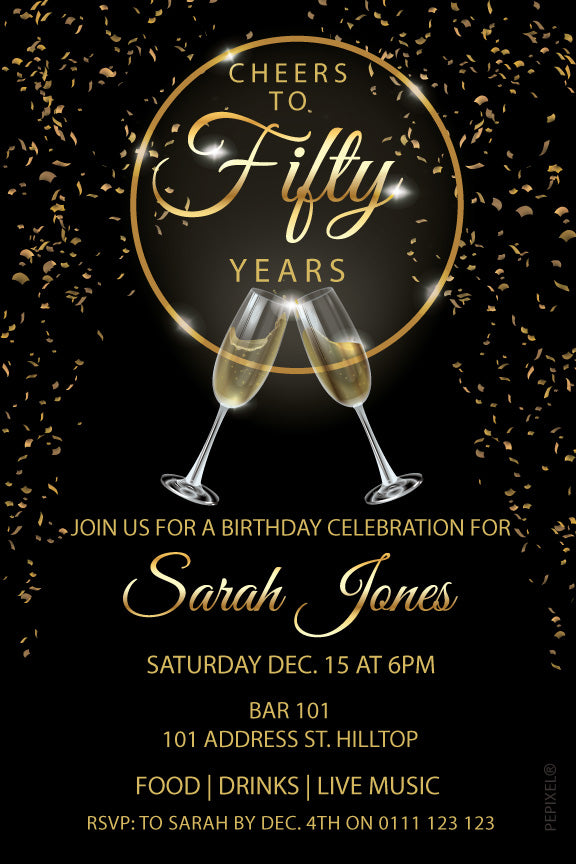 black and gold birthday invitation