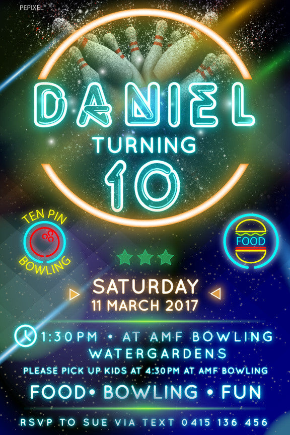 Bowling birthday party invitation, neon bowling birthday party invitation,