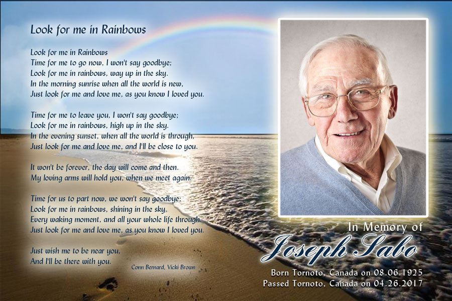 beach memorial card with photo, funeral card with photo,