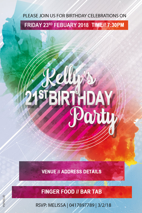 21st colouful splashes modern birthday invitations,  modern 30th birthday party invitations,
