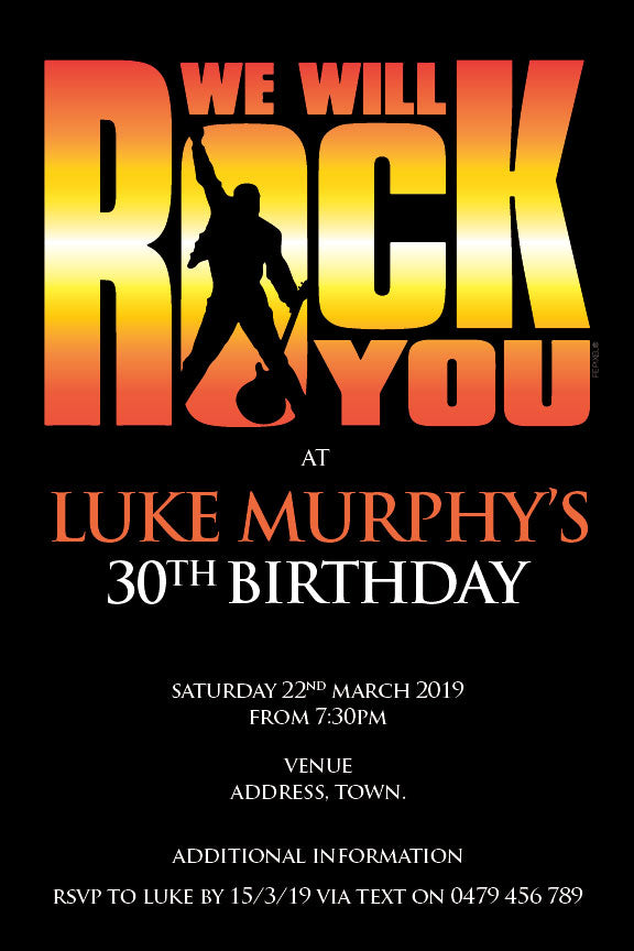 Queen bohemian rhapsody poster invitations with the words we will rock you on it 30th birthday invitation for him