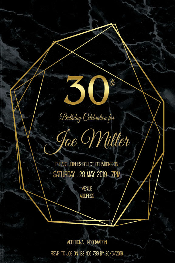 30th bithday invitation with gold shapes on a black marble background