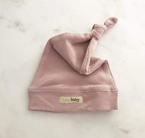L'ovedbaby Organic Cotton Thermal Knotted Cap - Mauve (NB, 0-6, 6-12, 12-24)