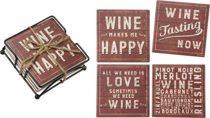 Coaster Set - Rustic Wine