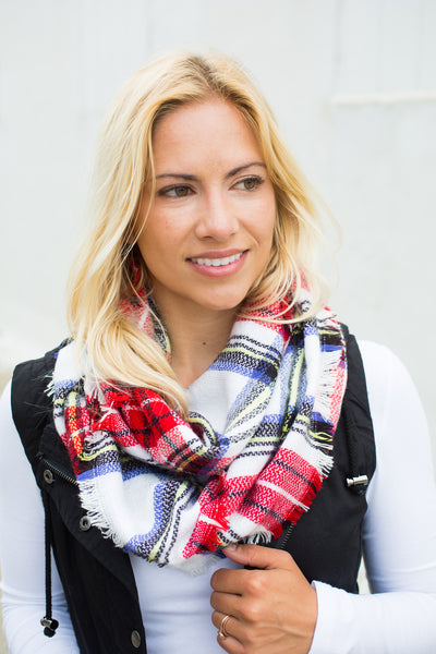 Plaid Infinity Scarf - Red/White