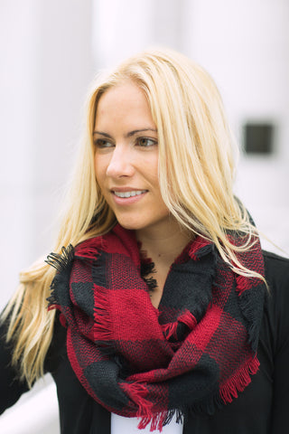Plaid Infinity Scarf - Red/Black