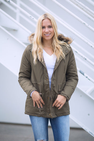 Fur Hooded Coat - Olive