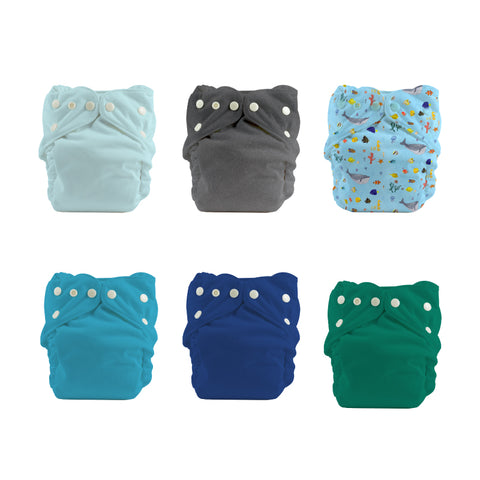One Size Diapers With Inserts - 6 Pack Bundle