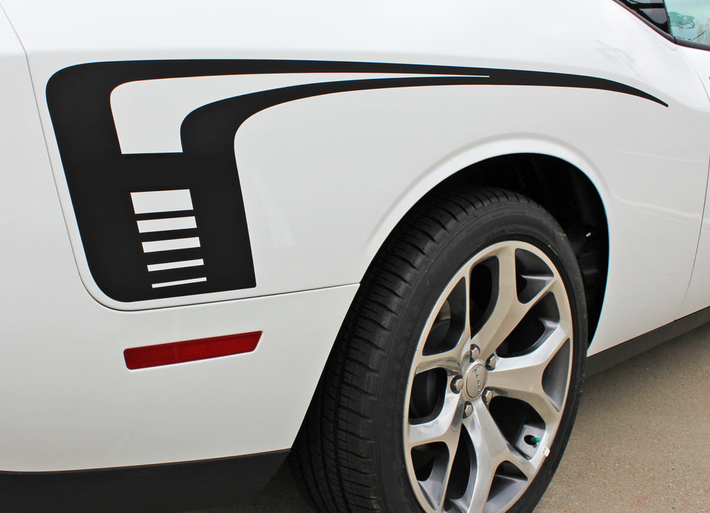 2008-2019 Dodge Challenger Cuda Strobe Rear Sides Only Mopar OEM Factory Style Rear Quarter Panel Rally Vinyl Graphics 3M Stripe Kit