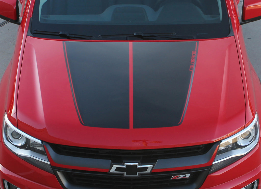 2015-2019 Chevy Colorado SUMMIT Split Hood Factory OEM Style Truck Racing Stripe Vinyl Graphics 3M Stripes Kit