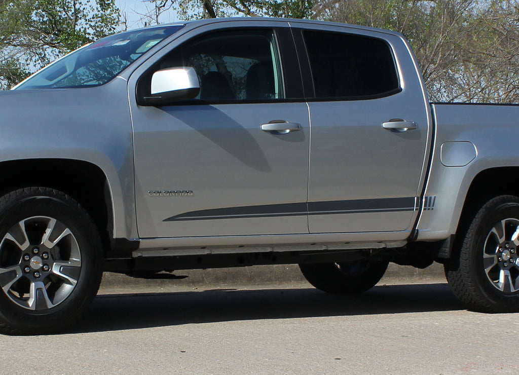 2015-2019 Chevy Colorado GMC Canyon RATON Crew Cab Lower Rocker Panel Accent Body Side Pickup Truck Vinyl Graphics 3M Stripes Kit