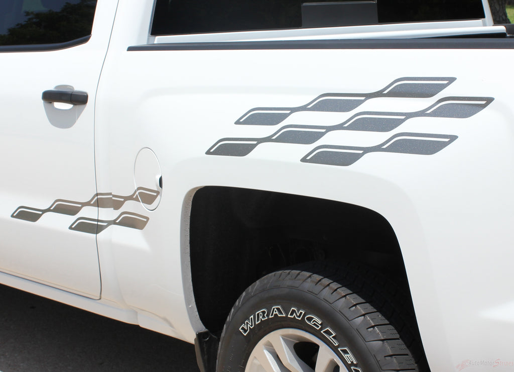2007-2018 Chevy Silverado Champ Flag Truck Side Bed Vinyl Graphics 3M Stripes Kit