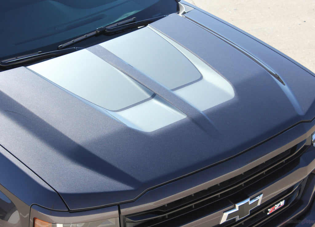 2016-2018 Chevy Silverado Racing Stripes Vinyl Graphic Decals 3M Chase Rally Truck Hood Stripe Kit