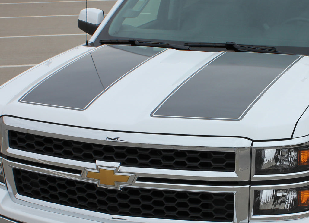 2014-2015 Chevy Silverado 1500 Rally Edition Style Truck Racing Vinyl Graphics 3M Stripes Kit