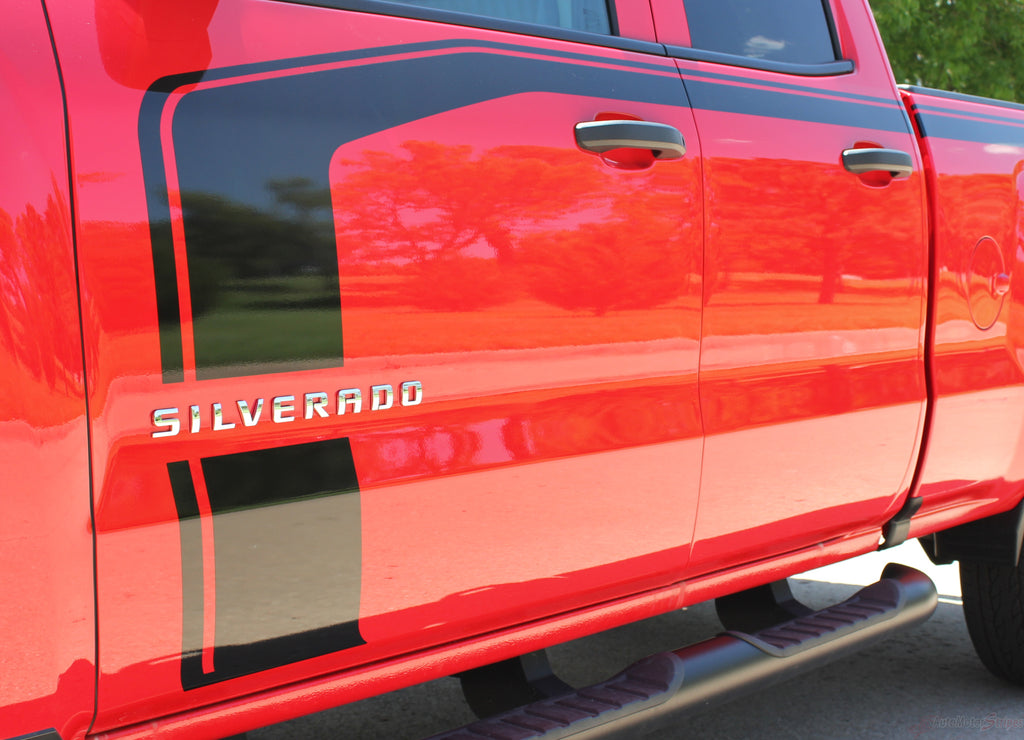 2016-2018 Chevy Silverado Flow Special Edition Rally Style Truck Hood Racing Stripes Side Door Vinyl Graphics Package