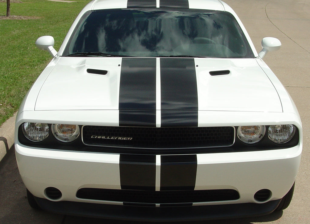 2008-2014 Dodge Challenger Rally Stripes Mopar Factory Rallye Style 10 inch Racing Vinyl Graphics 3M Decals Package