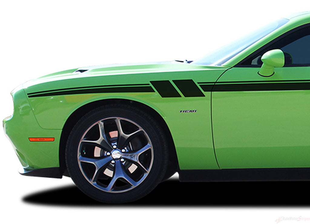 2011-2019 Dodge Challenger Fury Mopar Factory Style Strobe Vinyl Graphics Stripes 3M Decals Package