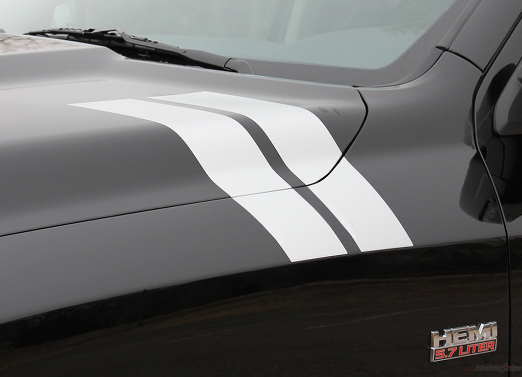 2009-2018 Dodge Ram Hash Marks Double Bar Truck Hood Fender Vinyl Graphic 3M Stripe Package