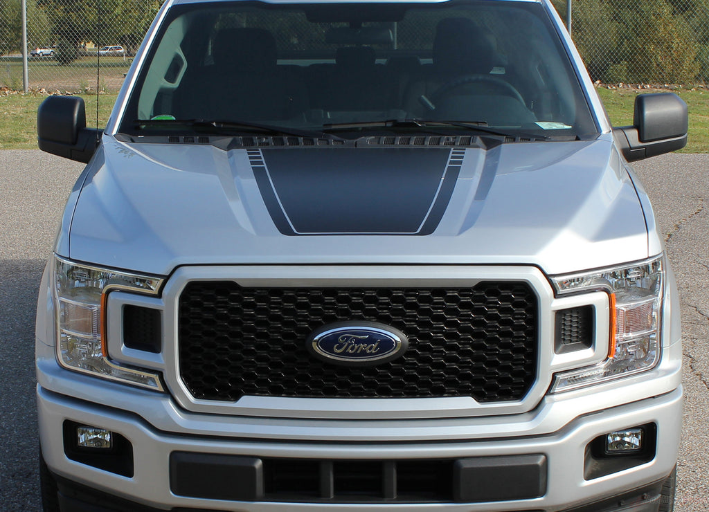2015-2019 Ford F-150 Speedway Hood Blackout Lead Foot Stripes Decals Vinyl Graphic 3M