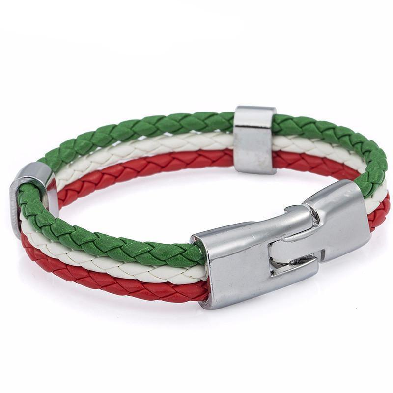 Italian Flag Leather Unisex Bracelet [2 Variants]